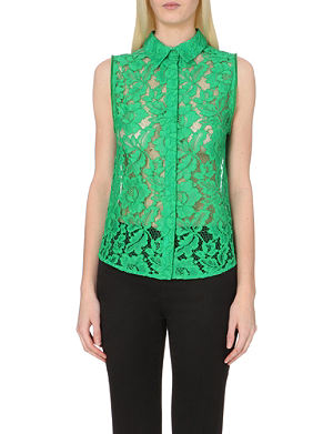 SANDRO Semi-sheer floral-lace shirt