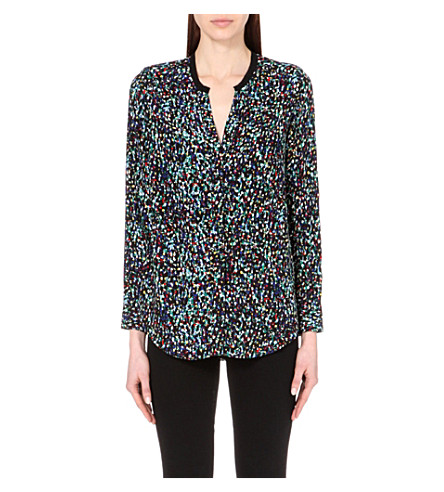 SANDRO Sheer-back printed crepe blouse (English green