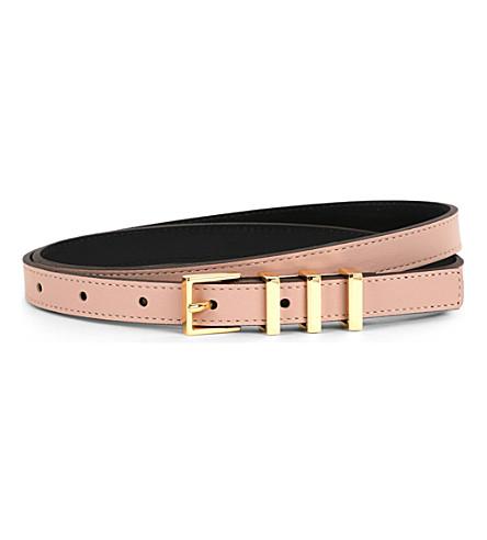 SANDRO Ariane leather belt (Ashen+pink