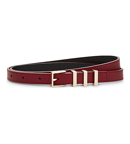 SANDRO Ariane slim leather belt (Red