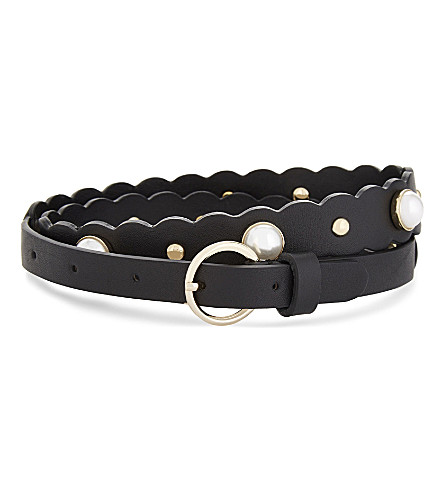 SANDRO Cora embellished leather belt (Black