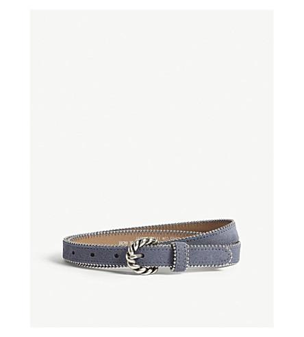 SANDRO Jane studded suede belt (Bleuet