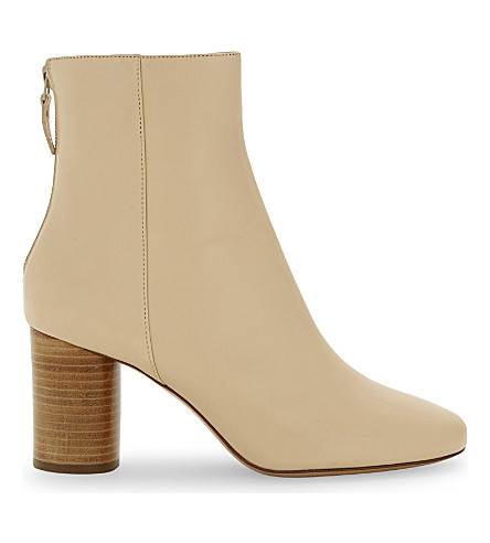 SANDRO Sacha leather ankle boots (Beige