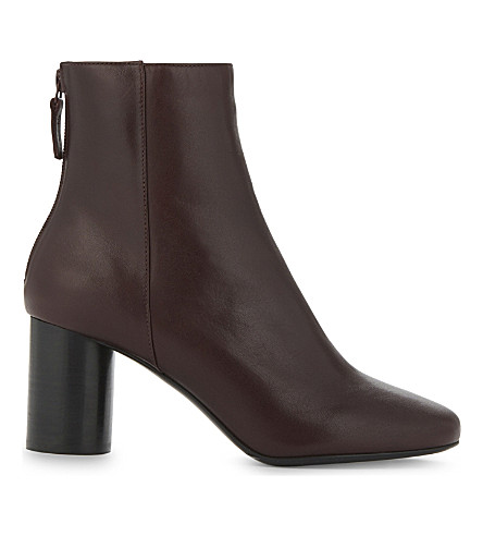 SANDRO Sacha leather ankle boots (Burgundy