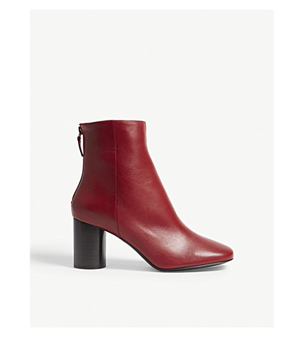 SANDRO Sacha leather ankle boots (Rouge