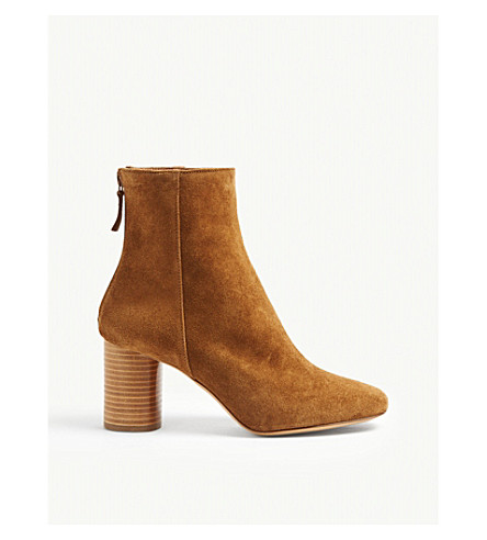 SANDRO Sacha suede heeled ankle boots (Camel