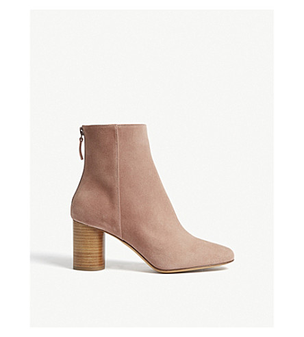 SANDRO Sacha suede heeled ankle boots (Vieux rose