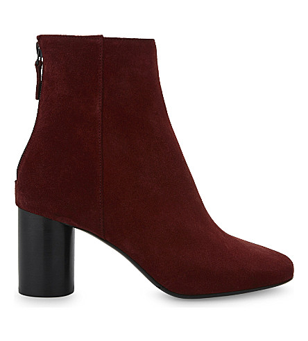 SANDRO Sacha suede heel ankle boots (Burgundy