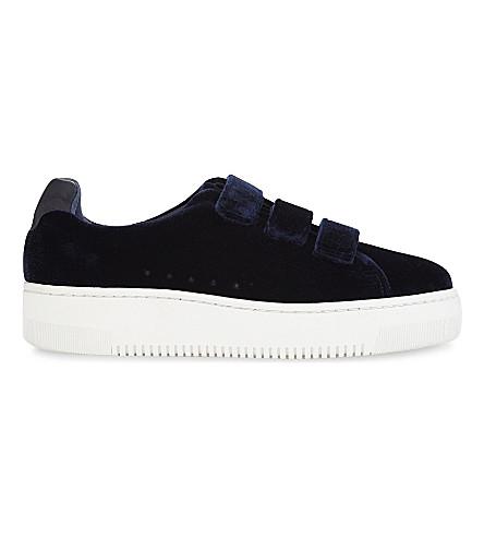 SANDRO Velvet strap trainers (Dark+navy