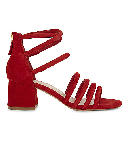 SANDRO Tessa suede heeled sandals (Red