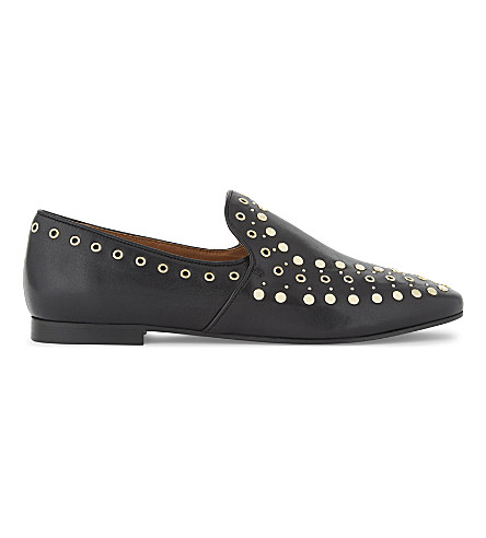 SANDRO Bary studded leather loafers (Black