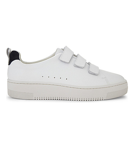 SANDRO Leather low-top trainers (White