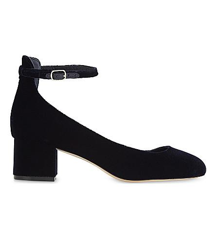 SANDRO Velvet Mary Jane heels (Dark+navy
