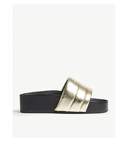 SANDRO Metallic leather platform sandals (Gold
