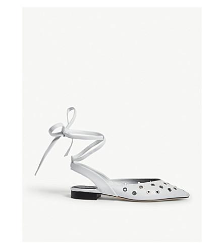 SANDRO Eyelet-detailed leather ballerina flats (Blanc
