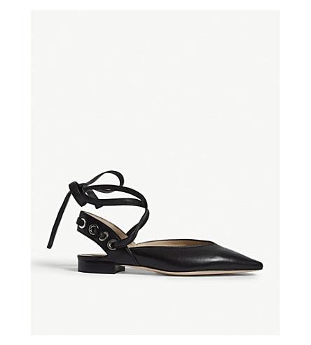 SANDRO Leather pointed ballerina flats (Noir