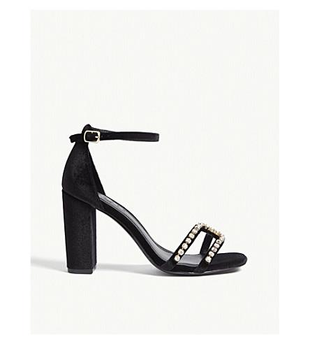 SANDRO 水晶点缀天鹅绒凉鞋 (黑色