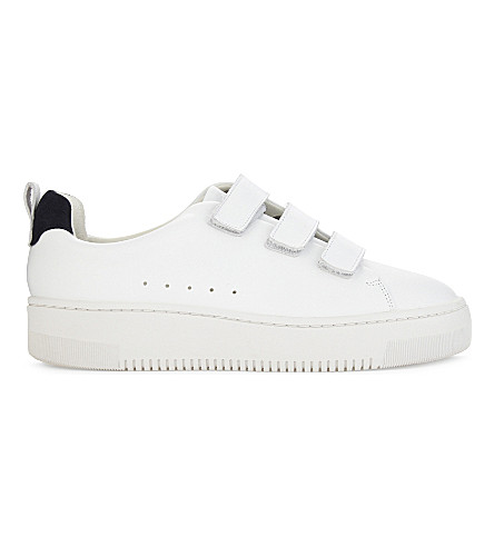 SANDRO Hook-and-eye leather trainers (Blanc