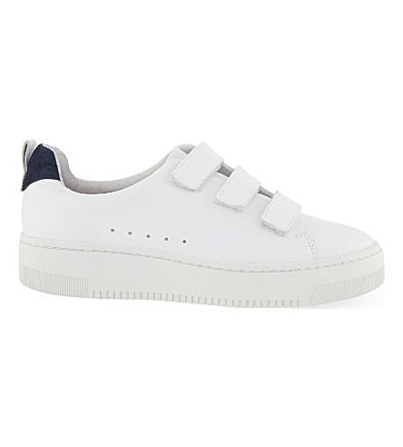 SANDRO Hook-and-eye leather trainers (White