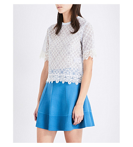 SANDRO Scalloped lace top (Blue