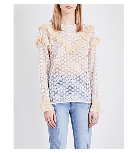 SANDRO Frilled guipure lace top (White