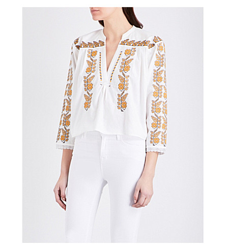 SANDRO Floral-embroidered woven top (White