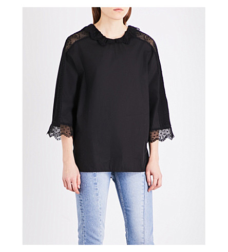 SANDRO Lace-trim cotton top (Black