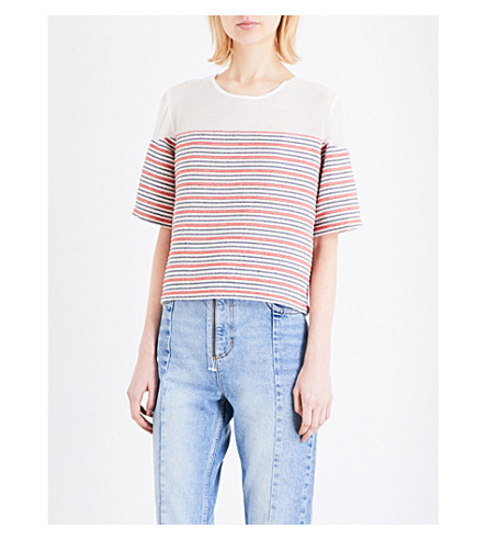 SANDRO Striped cotton-blend top (Red