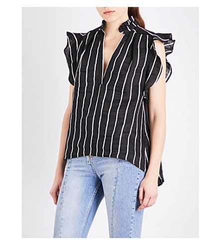 SANDRO Striped ruffled woven top (Black