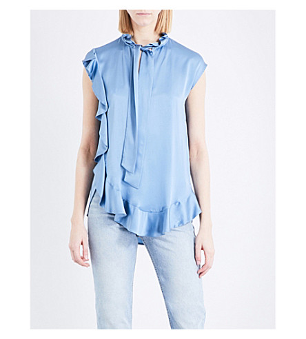 SANDRO Frilled pussybow silk-satin top (Blue