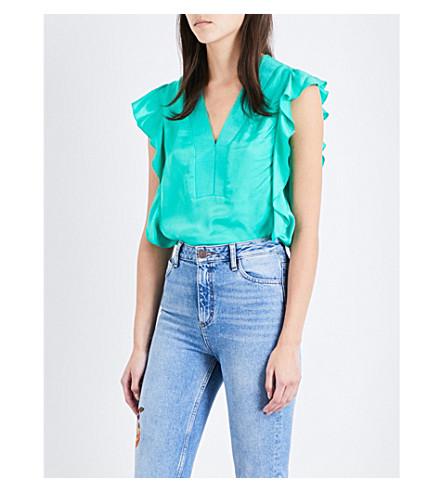 SANDRO Ruffled woven top (Light+green