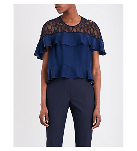 SANDRO Silk-satin and lace top (Navy+blue