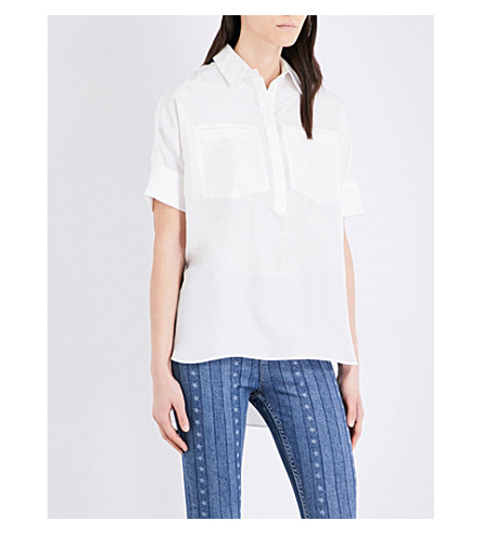 SANDRO Patch-pockets silk top (Ecru
