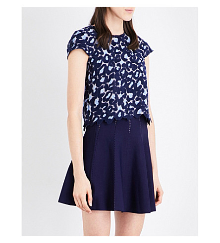 SANDRO Leopard pattern lace top (Navy+blue