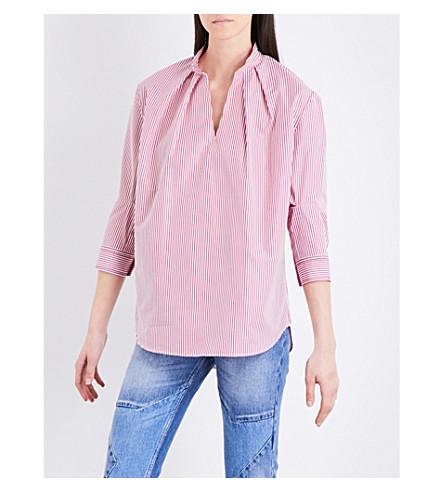 SANDRO Striped cotton-poplin top (Pink