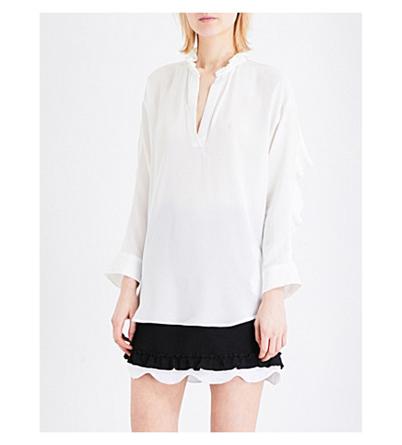 SANDRO Ruffled silk blouse (Ecru