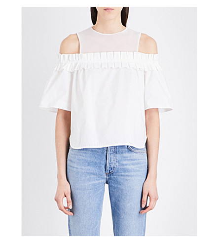 SANDRO Cold shoulder cotton-poplin top (White