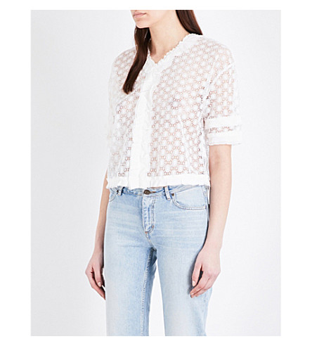 SANDRO Guipure lace top (White