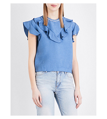 SANDRO Frilled-trim woven top (Multi