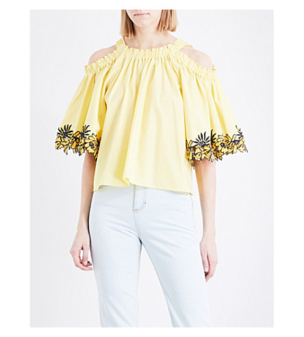 SANDRO Cold-shoulder loose-fit cotton-poplin top (Yellow