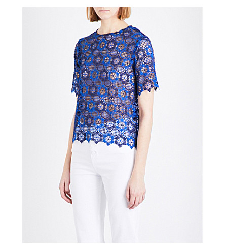 SANDRO Floral guipure-lace top (Egyptian+blue