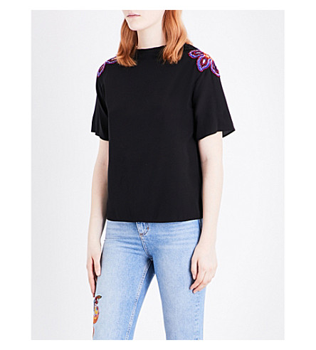 SANDRO Flower-embroidered silk T-shirt (Black