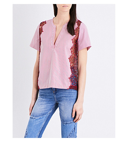 SANDRO Lace-trim striped cotton-poplin top (Pink