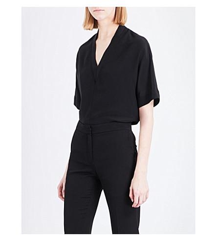 SANDRO V-neck silk top (Black