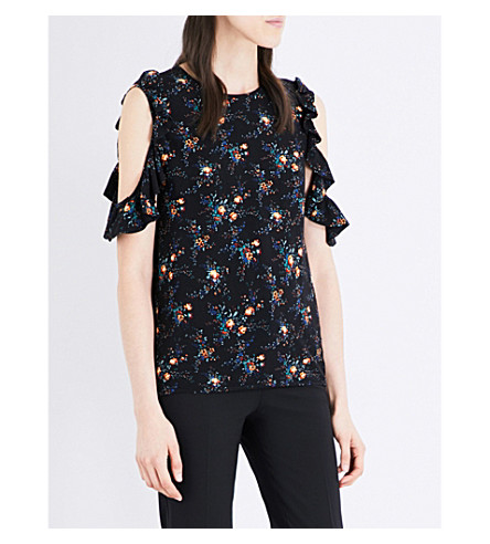 SANDRO Floral-print cold shoulder crepe top (Black