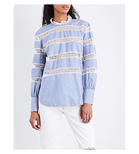 SANDRO Lace-panel striped cotton top (Blue