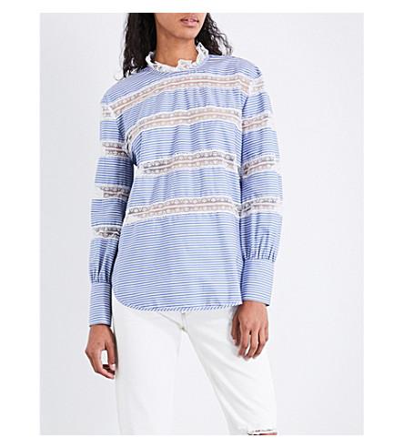 SANDRO 花边-面板条纹棉布上衣 (蓝色