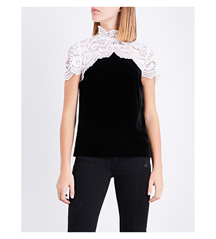 SANDRO Lace-panel velvet top (Black