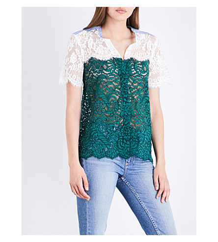 SANDRO Panelled lace shirt (Moss+green