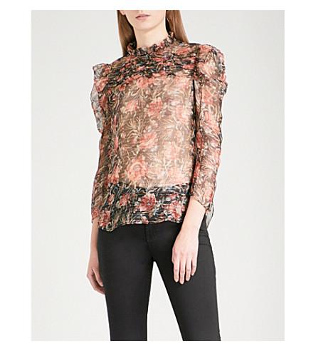 SANDRO Floral-print silk-blend blouse (Light+brown